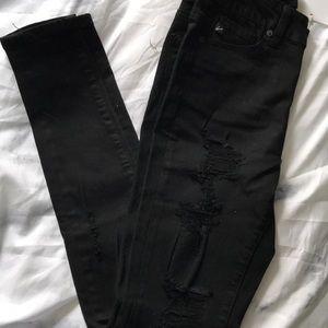 Hi rise black distressed jeans